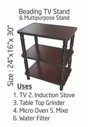 Mono Furn Brown Wooden Beading TV Stand, Size: 24
