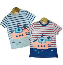 Cotton Casual Wear Kids Roud Neck Half Sleeves T Shirt, Size: 2to8years