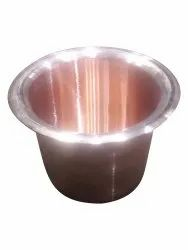 Golden Plain Round Copper Panchpatra, Packaging Type: Box