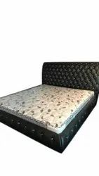 Wooden, Rexine Black Luxury Wooden Double Bed, For Home, Hotel, Size: 6 X 6 Feet