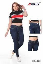 Plain Comfort Fit Ladies High Waist Jeans