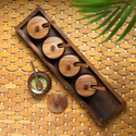 Nirmala Handicrtafts Wooden Serving Platter Jars Set With Tray & Spoons Rectangular Tray Set