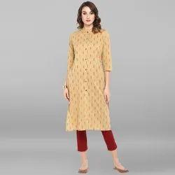 Janasya Women's Beige Cotton Kurta(JNE3443)