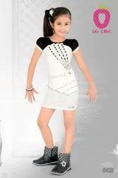 Plain Festive Wear Charming White Short Midi Black Stone Work, Age Group: 3-12 Years