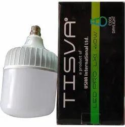 Round 40 Watt Usha LED Pro LX1 Bulb, Lighting Color: Cool Day, Model Name/Number: Tisva