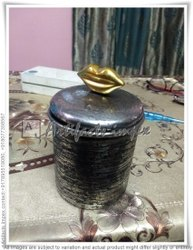 Black Stainless Steel Hand Embossed Jar With Gold Lip Design Knob, Material Grade: SS304, Capacity: 10 Kgs