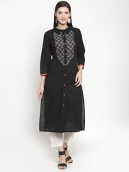 Black Cotton Jacquard Embroidered Kurti