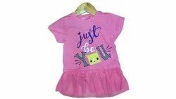 Cotton Casual Wear Girls Kids Pink T Shirt, Size: 2to8years