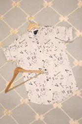Men White Printed Cotton Shirt, Size: S-xl