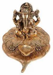Aluminium Golden Leaf Ganesh Statue