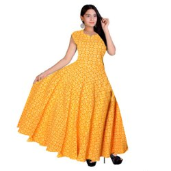 Yellow Jaipuri Cotton Printed Dress, Size: Free Size