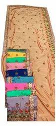 Wedding Wear Embroidery Vichitra Silk Ladies Saree, With blouse piece, 6.3 m