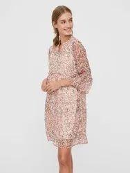 Printed Rayon Surplus Midi Dress, Size: S-xl