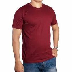 Round Half Sleeve Men Plain T-shirts, Size: Medium