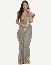 Party Wear Ladies Printed Cotton Saree, With blouse piece, 5.5 m (separate blouse piece)