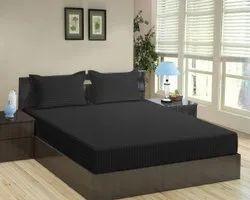 纯棉双缎面条纹染色黑床单,为家居,酒店,大小:90 x 100英寸
