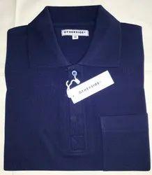 Poly cotton navy blue collar tshirt