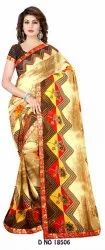 Party Wear Designer Renial Printed Saree, 6 m (with blouse piece)