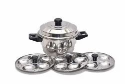 Ss 304 Round Stainless Steel Idli Cooker, 3 Plates, Size: 15 Cm