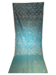 Sitara Party Wear Sky Blue Hand Work Saree, With Blouse Piece, 6.3 m