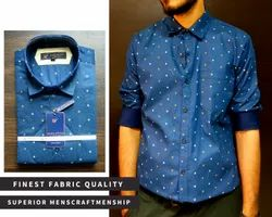 Cotton Blue Mens Party Wear Printed Shirt