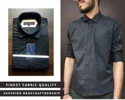 Aero Style Party Wear Men Black Printed Shirt