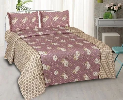 Queen Size Cotton Bed Sheet with 2 Pillow Covers