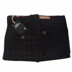 Black,Navy Blue Regular Fit Mens Check Cotton Trousers