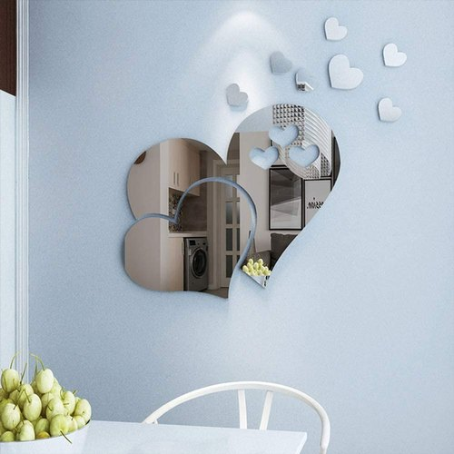 Kc Decor Heart Shape Mirror Wall, Decorative Wall Mirror Stickers
