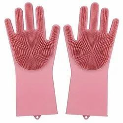 Washable Cleaning Gloves with Scrubber for Dishwashing, Design/Pattern: Dotted