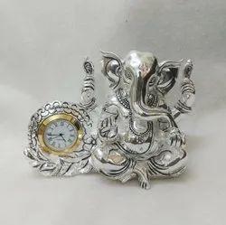 Silver Plated Ganesha Idol whit watch