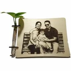 Natural Wood Laser Carved Wooden Photo Model Std Size 9x7 Inch, For Gift Item