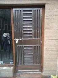 Silver Polished Stainless Steel Doors, Single, Material Grade: 304