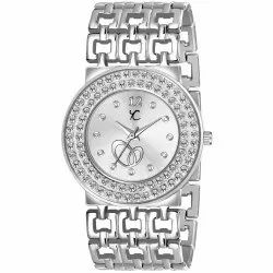 Youth Club Round Studded Designer Silver Dial And Strap Analog Watch For Women, For Daily, Model Name/number: Br-105sil