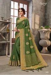 Green Cotton Chit Pallu Saree
