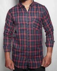 Men Black Check Cotton Shirts