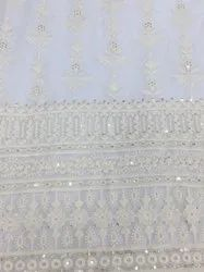Georgette Lucknowi Embroidery Fabric-Dyeable