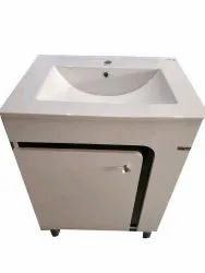 PVC Wall Mounted Wash Basin With Vanity Cabinet, For Hotel