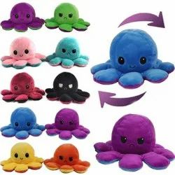 Multicolor Unisex Reversible Octopus Plush Soft Toy, For Home