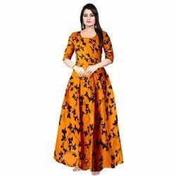 Orange Rayon 3/4 Sleeve Women Wedding Gown, Size: Free Size