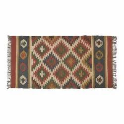Kilim Multicolor Accent Wool Jute Rug, For Home, 4X6