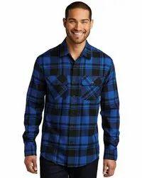 Checked Blue, Black Men Cotton Casual Check Shirt