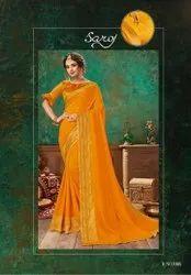 Yellow Color Vichitra Silk Saree