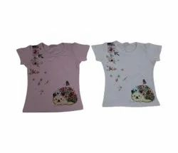 Cotton Party Wear Girl Printed T Shirt, Size: M