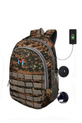 SMS Bag House (Pubg Level 3) Digital Bag USB Port Laptop Bag And College Bag Military Colour