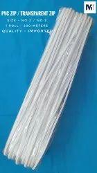 透明普通PVC拉链3号5号白色