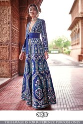 Blue Party Wear Ladies Designer Taffeta Silk Gown