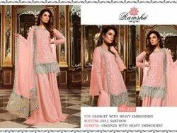Faux Georgette with Embroidery Dress