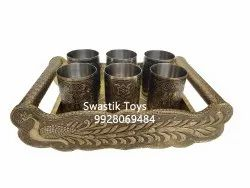 Wooden And Steel Gold and Silver Plated Glass Tray Set Gift Set, For Home