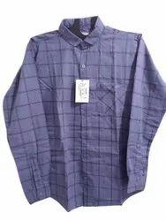 Blue Mens Oxford Cotton Check Shirt, Machine wash